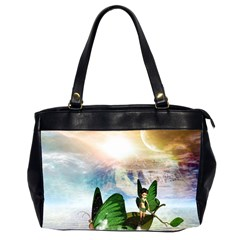 Cute Fairy In A Butterflies Boat In The Night Office Handbags (2 Sides)  by FantasyWorld7