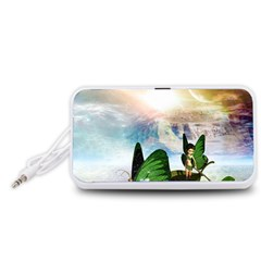 Cute Fairy In A Butterflies Boat In The Night Portable Speaker (White)  by FantasyWorld7