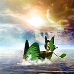 Cute Fairy In A Butterflies Boat In The Night MOM 3D Greeting Card (8x4)  Inside