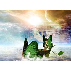 Cute Fairy In A Butterflies Boat In The Night Birthday Cake 3d Greeting Card (7x5)  by FantasyWorld7