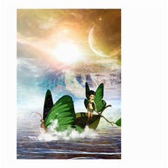Cute Fairy In A Butterflies Boat In The Night Small Garden Flag (two Sides) by FantasyWorld7