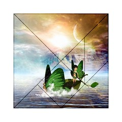 Cute Fairy In A Butterflies Boat In The Night Acrylic Tangram Puzzle (6  x 6 ) by FantasyWorld7