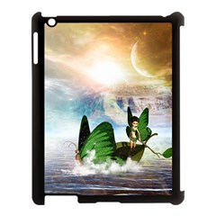 Cute Fairy In A Butterflies Boat In The Night Apple Ipad 3/4 Case (black) by FantasyWorld7