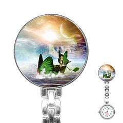 Cute Fairy In A Butterflies Boat In The Night Stainless Steel Nurses Watches by FantasyWorld7