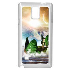 Cute Fairy In A Butterflies Boat In The Night Samsung Galaxy Note 4 Case (White) by FantasyWorld7