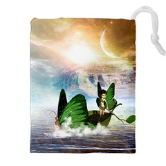 Cute Fairy In A Butterflies Boat In The Night Drawstring Pouches (xxl) by FantasyWorld7
