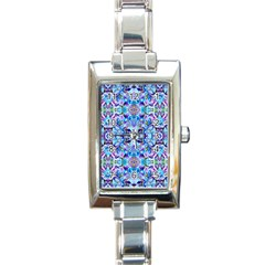 Elegant Turquoise Blue Flower Pattern Rectangle Italian Charm Watches by Costasonlineshop