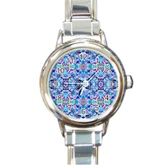 Elegant Turquoise Blue Flower Pattern Round Italian Charm Watches