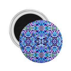Elegant Turquoise Blue Flower Pattern 2 25  Magnets by Costasonlineshop