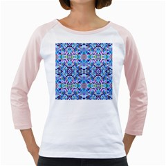 Elegant Turquoise Blue Flower Pattern Girly Raglans by Costasonlineshop