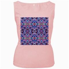 Elegant Turquoise Blue Flower Pattern Women s Pink Tank Tops by Costasonlineshop