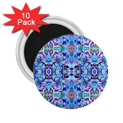 Elegant Turquoise Blue Flower Pattern 2 25  Magnets (10 Pack)  by Costasonlineshop