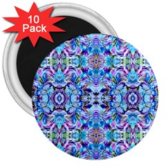 Elegant Turquoise Blue Flower Pattern 3  Magnets (10 Pack)