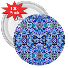 Elegant Turquoise Blue Flower Pattern 3  Buttons (100 Pack)  by Costasonlineshop