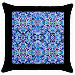 Elegant Turquoise Blue Flower Pattern Throw Pillow Cases (black) by Costasonlineshop