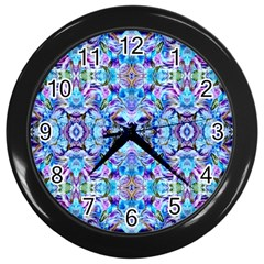 Elegant Turquoise Blue Flower Pattern Wall Clocks (black)