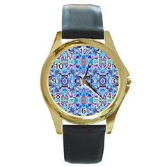 Elegant Turquoise Blue Flower Pattern Round Gold Metal Watches