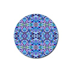 Elegant Turquoise Blue Flower Pattern Rubber Round Coaster (4 Pack)  by Costasonlineshop
