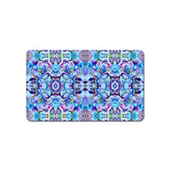 Elegant Turquoise Blue Flower Pattern Magnet (name Card) by Costasonlineshop