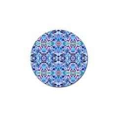 Elegant Turquoise Blue Flower Pattern Golf Ball Marker