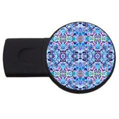 Elegant Turquoise Blue Flower Pattern Usb Flash Drive Round (2 Gb)  by Costasonlineshop