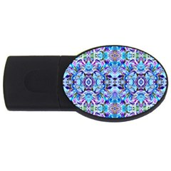 Elegant Turquoise Blue Flower Pattern Usb Flash Drive Oval (2 Gb)  by Costasonlineshop