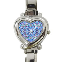 Elegant Turquoise Blue Flower Pattern Heart Italian Charm Watch