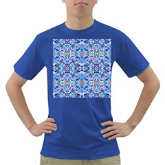 Elegant Turquoise Blue Flower Pattern Dark T-Shirt by Costasonlineshop