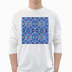 Elegant Turquoise Blue Flower Pattern White Long Sleeve T Shirts