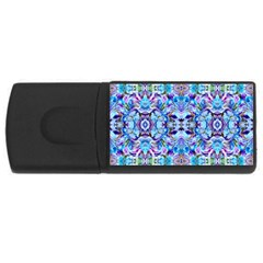 Elegant Turquoise Blue Flower Pattern Usb Flash Drive Rectangular (4 Gb)