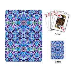 Elegant Turquoise Blue Flower Pattern Playing Card by Costasonlineshop