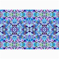 Elegant Turquoise Blue Flower Pattern Collage 12  X 18  by Costasonlineshop