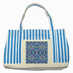 Elegant Turquoise Blue Flower Pattern Striped Blue Tote Bag  by Costasonlineshop