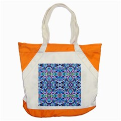 Elegant Turquoise Blue Flower Pattern Accent Tote Bag  by Costasonlineshop