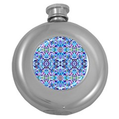 Elegant Turquoise Blue Flower Pattern Round Hip Flask (5 Oz) by Costasonlineshop