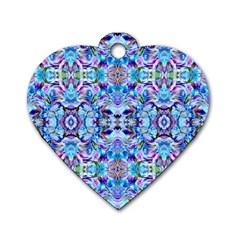 Elegant Turquoise Blue Flower Pattern Dog Tag Heart (one Side) by Costasonlineshop