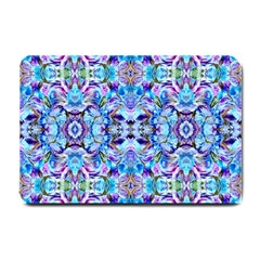 Elegant Turquoise Blue Flower Pattern Small Doormat  by Costasonlineshop