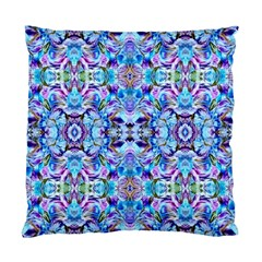 Elegant Turquoise Blue Flower Pattern Standard Cushion Cases (two Sides)  by Costasonlineshop
