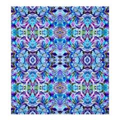 Elegant Turquoise Blue Flower Pattern Shower Curtain 66  X 72  (large)  by Costasonlineshop