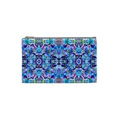 Elegant Turquoise Blue Flower Pattern Cosmetic Bag (small)  by Costasonlineshop