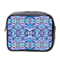 Elegant Turquoise Blue Flower Pattern Mini Toiletries Bag 2-Side by Costasonlineshop