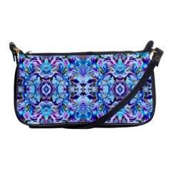 Elegant Turquoise Blue Flower Pattern Shoulder Clutch Bags by Costasonlineshop