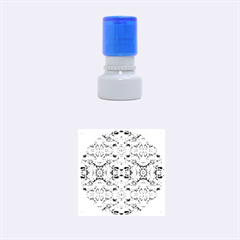 Elegant Turquoise Blue Flower Pattern Rubber Round Stamps (small) by Costasonlineshop