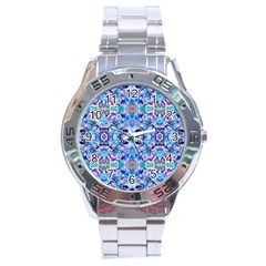 Elegant Turquoise Blue Flower Pattern Stainless Steel Men s Watch by Costasonlineshop