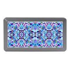 Elegant Turquoise Blue Flower Pattern Memory Card Reader (mini) by Costasonlineshop