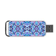 Elegant Turquoise Blue Flower Pattern Portable Usb Flash (two Sides)
