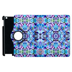Elegant Turquoise Blue Flower Pattern Apple Ipad 3/4 Flip 360 Case by Costasonlineshop