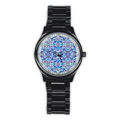 Elegant Turquoise Blue Flower Pattern Stainless Steel Round Watches