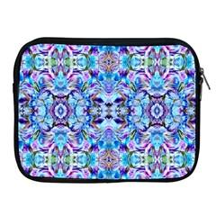 Elegant Turquoise Blue Flower Pattern Apple Ipad 2/3/4 Zipper Cases by Costasonlineshop
