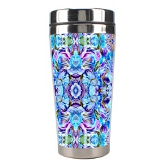 Elegant Turquoise Blue Flower Pattern Stainless Steel Travel Tumblers by Costasonlineshop